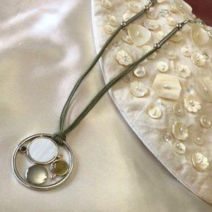 Lia sophia New Necklace Green Cord, Gems, Pearl
